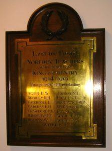 Norfolk CC Teachers War Memorial ( Roll of Honour) perm pending