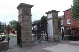 'Men on the Gates, Cae Glas Park War Memorial Gates, Oswestry.