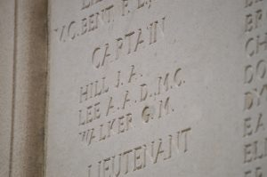 Captain Audley AD Lee, 9 Bn Leicestershire Regiment. KIA 1 October 1917, Tyne Cot Memorial. (JRD)
