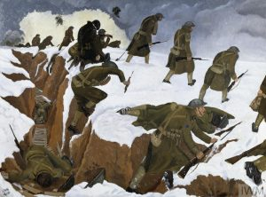 Over the Top by John Nash. 1Bn Artists Rifles at Marcoing, 30 Dec 1917. IMPERIAL WAR MUSEUMS. © IWM (Art.IWM ART 1656)